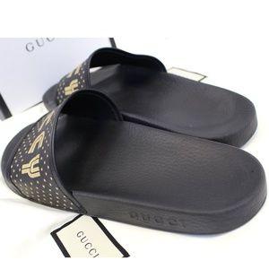 gucci Shoes - GUCCI Black Supreme Canvas Slide Sandal Size 11